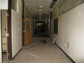 Photo of Interior Gutting of School Hallway (Before)