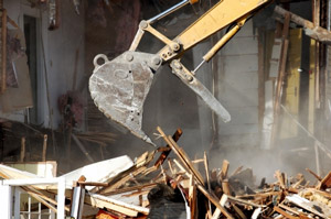 Photo of a house demolition and razing