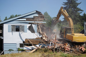 Photo of a full house demolition